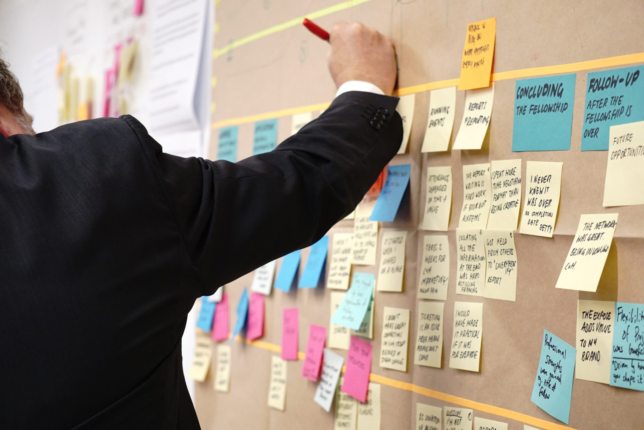 Muur met postit briefjes en projectplanning